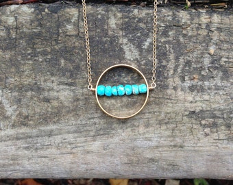 Sleeping Beauty Turquoise in a Gold Vermeil Circle Hoop Necklace on a 14K Gold Filled Chain - 18 inches