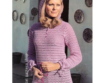 Crochet Top Pattern Vintage Hooded Sweater Filet Crochet Pattern Womens Beach Cover Up PDF Instant Download Size 12 to 18- C95