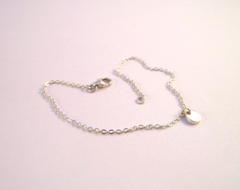 Minimalist Silver Bracelet - Sterling Silver Thin Chain Bracelet with Fine Silver Charm - Everyday Bracelet - Gift For Her