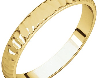 4mm Classic Hammered Wedding Band- 14k gold
