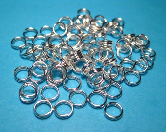 Bright Silver Plated Double Loops Split Open Jump Rings 5mm (No.093)
