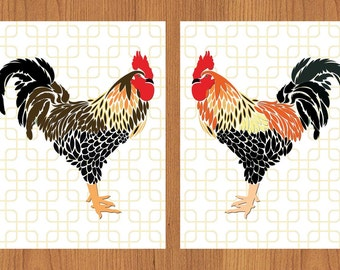 Roosters Brown Black Yellow Red Country Kitchen Home Decor Wall Art Gotcha Background Modern Art Set of 2 8X10 Prints (203)