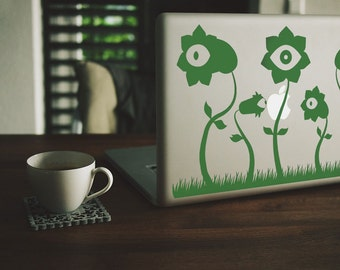 Macbook Sticker Eyes and Flowers