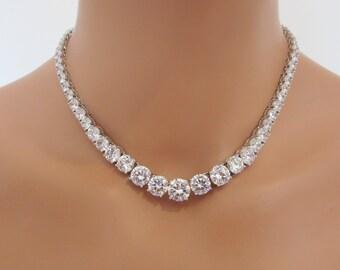 Bridal necklace, Wedding crystal necklace, Rhinestone necklace, Bridesmaid necklace, Cubic ziconia necklace, Bridal jewelry