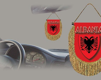 Albania rear view mirror world flag car banner pennant