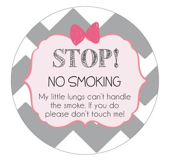Girl No Smoking sign Preemie, newborn, baby car seat tag, baby shower gift, stroller tag, baby car seat sign