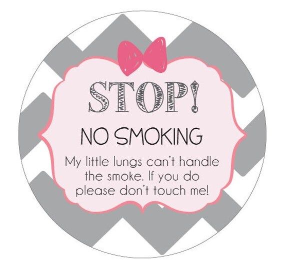 Girl No Smoking sign Preemie sign, newborn, baby car seat tag, baby shower gift, stroller tag, baby car seat sign