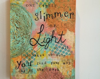 """Original Mixed media acrylic painting.  """"Glimmer of light"""" thick gallery canvas 9x12 x 1 1/4 inches"""