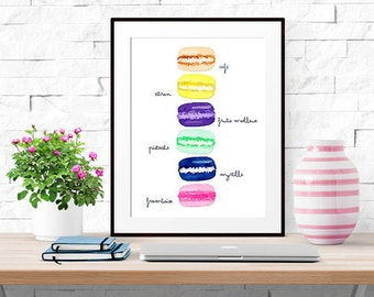 Colorful French Macaron Print -- Watercolor Print -- Home Decor