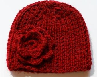Knit Flower Winter Hat // Women's Hand-Knit Hat