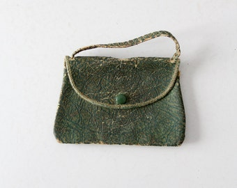 antique coin purse,  green leather clutch