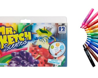 Mr. Sketch Scented Markers Assorted Colors 12 Count, No Bleed Colors Ideal For Flip Charts, Posters, Maps Or Coloring, Kid's Scented Markers