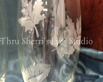 Fall leaves Vase- Glass etched leaves, fall decor, table centerpiece, fall centerpiece,handmade,glass etched, glass etched leaves,leaf vase,