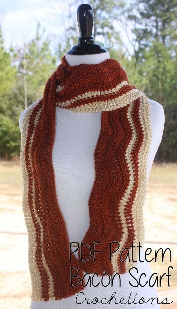 Knitting Pattern Bacon Scarf : Crochet PATTERN - Bacon Scarf / Handmade, Neck Warmer, Food Scarf- PATTERN ON...