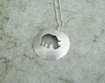 Sterling Silver Rhino Pendant  - Save the Rhino
