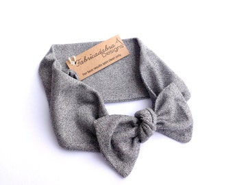 Heather Gray Bow Knit Headband