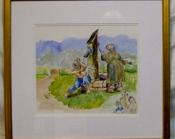 Peter Atkins original watercolour cartoon framed painting English art Travellers humour gypsies Freight cost extra etsy global gift