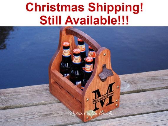 Rustic Beer Carrier, Personalized Beer Caddy, Monogram Beer Tote, Wedding Gift - Chunky