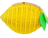 Milanblocks Womens Woven Pattern Lemon Straw Handbag Cross Body Beach Fruit Clutch