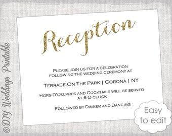 wedding reception invitation template diy printable, wedding cards