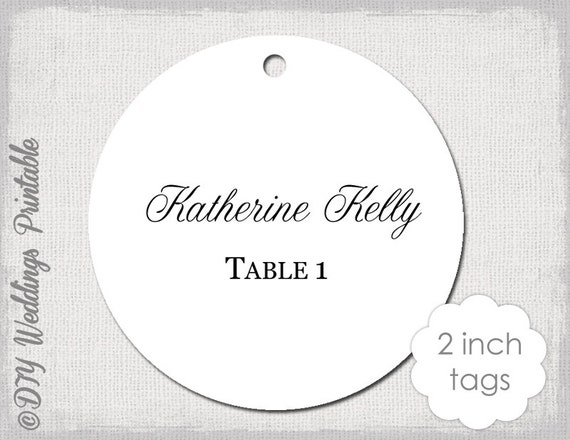 Wedding Favor Tags Template Calligraphy 2