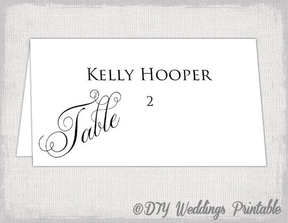 Place Card Template Black Calligraphy Diy Wedding Name Cards