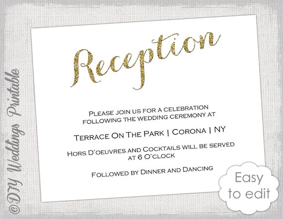 wedding reception invitation template diy gold by, Wedding invitation