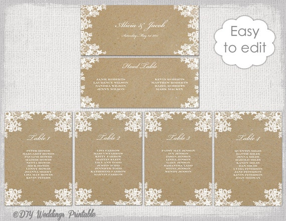 """Seating chart template """"Rustic Lace"""" printable seating chart cards DIY ..."""