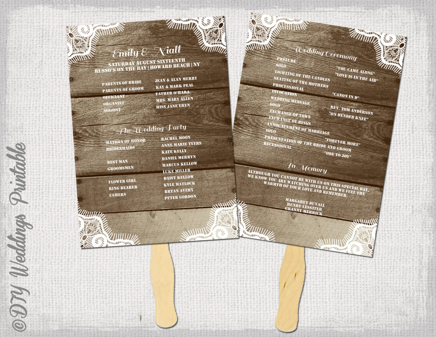 rustic wedding program fan templates