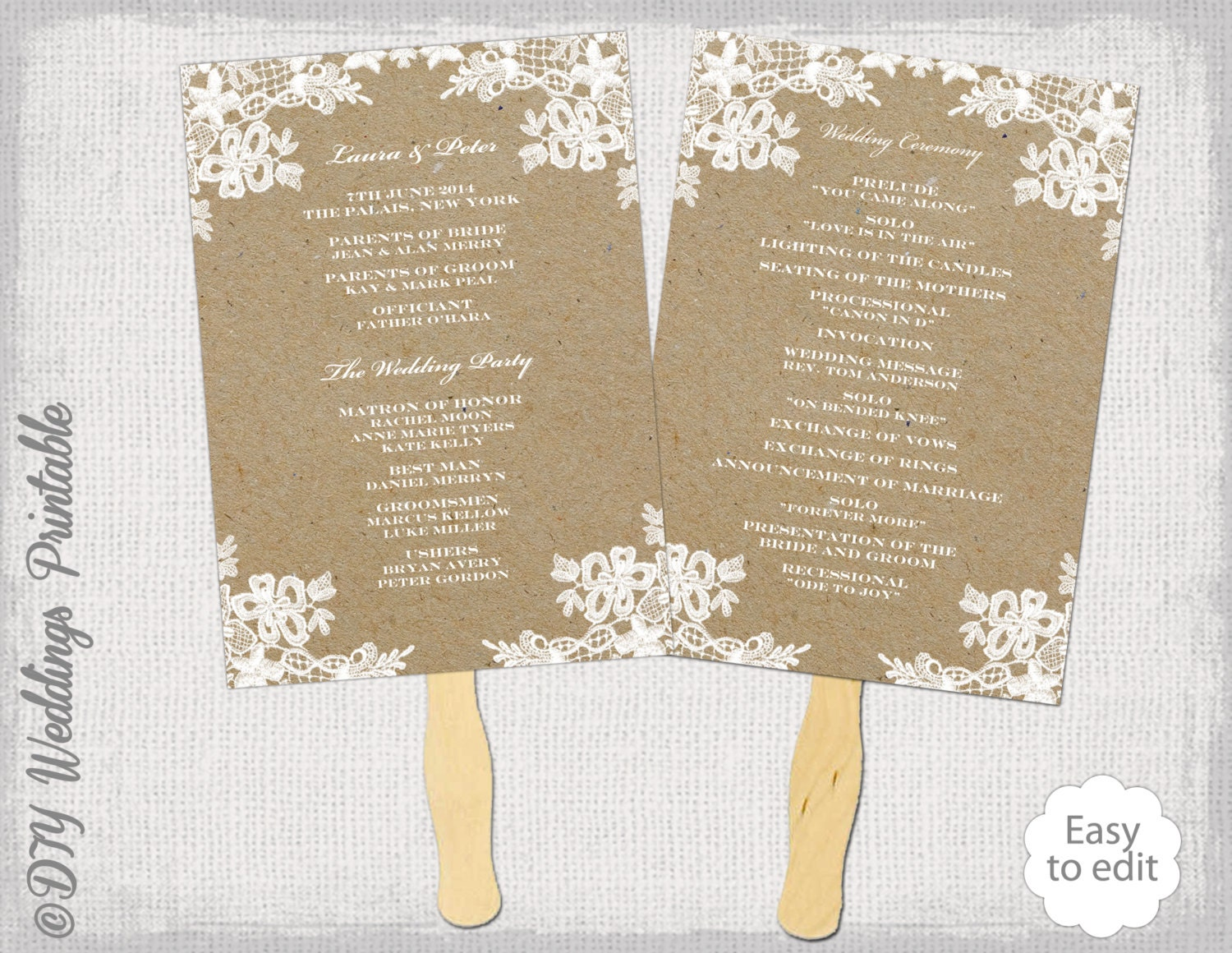 Rustic wedding fan program template rustic lace for Wedding programs fans templates