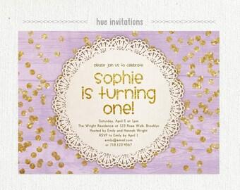 lavender gold glitter birthday party invitation, first birthday invite for girl, lace doily gold glitter confetti purple woodgrain, 5x7 537