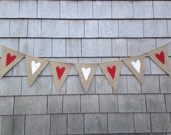 Ready to Ship, Heart Banner, Valentines Day Decor, Valentines Banner, Heart Garland, Heart Bunting, Valentines Garland, Burlap Valentines