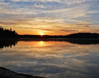 Oversized Art, Boundary Waters, Nature Landscape, Lake Images, Cloudy Reflection, Water Picture, Extra Large, Wall Decor, Sunrise Photo