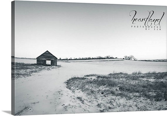 Black and White, Canvas Gallery Wrap, Winter Photography, Old Barn Photo, Snow Landscape, Iowa Images, Minimalist Photograph, Farm Canvas