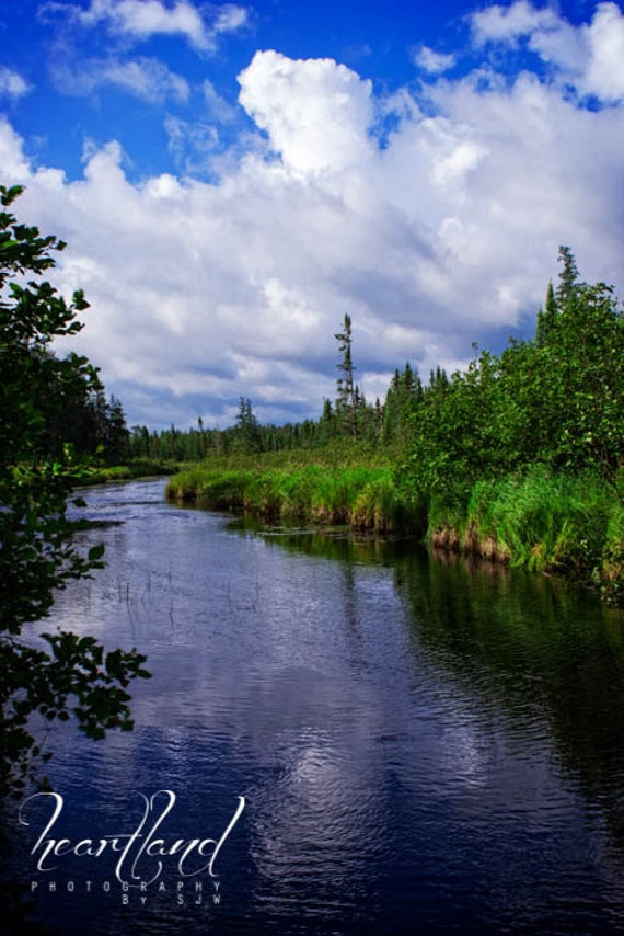 Boundary Waters, Little Indian Sioux River, Minnesota Photo, Nature Photography, River Print, Blue Sky, Blue and Green, BWCA, Reflection
