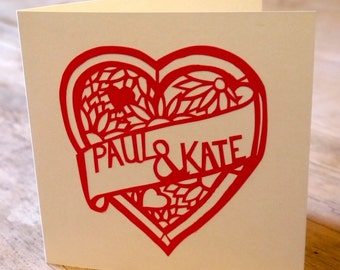 Personalised hand-cut heart card