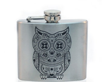 Stainless Steel Flask - Owl Design 5oz