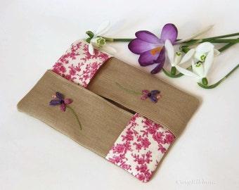 Flower tissue case, Linen Tissue , Pocket Tissue Holder, Kleenex or handkerchief Case ,  Purse Tissue Case ,  Embroidered  Tissue Holder.