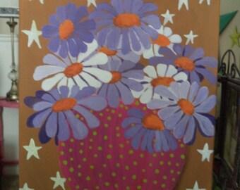 Folk Art Flower Painting/Original Artwork