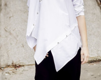 Deconstructed White Top TT33, Plus Size White Cotton Shirt, Asymmetrical Loose Shirt