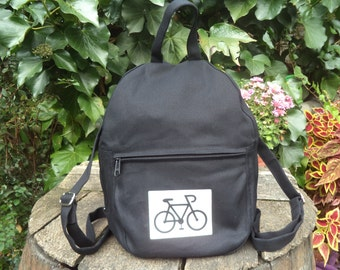 Black canvas small backpack with bike