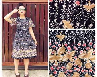 Massive Clearance Sales 80s Vintage Floral Dress