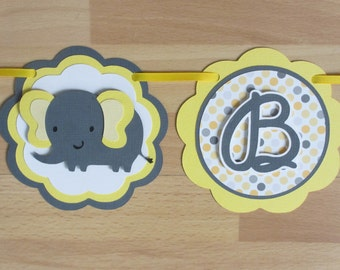Yellow and Grey Elephant Baby Banner / Sign Gender Neutral Baby Shower Sign