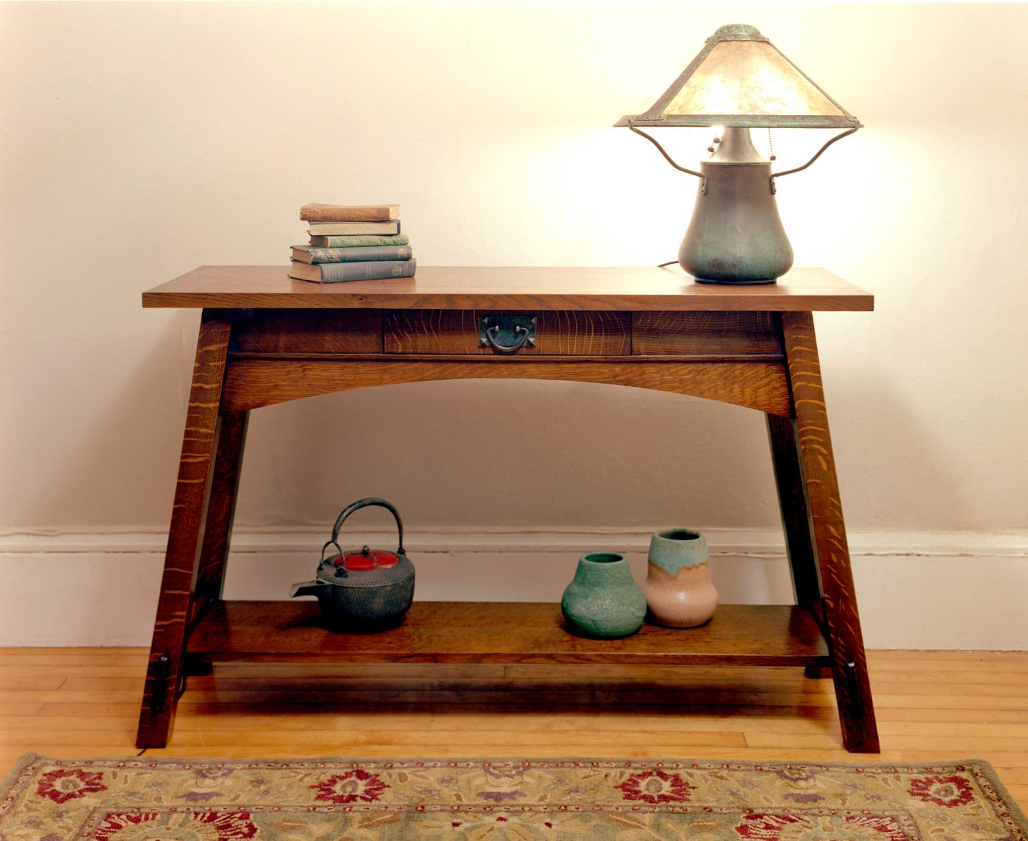Splay leg sofa table for Arts and crafts sofa table
