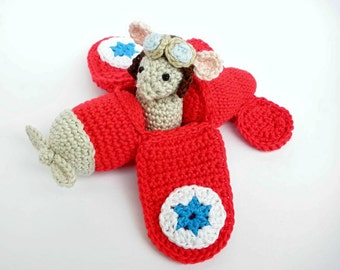 Red airplane toy, stuffed airplane, crochet airplane, amigurumi airplane, aviator mouse, stuffed toy