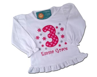 Girl's Winter Birthday Shirt with Snowflakes and Number - Hot Pink - F26