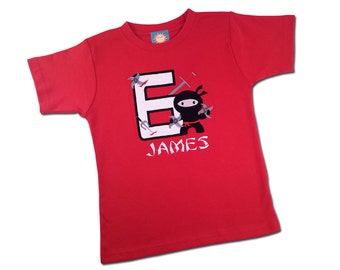 Ninja Birthday Shirt with Number, Weapons and Embroidered Name - Red