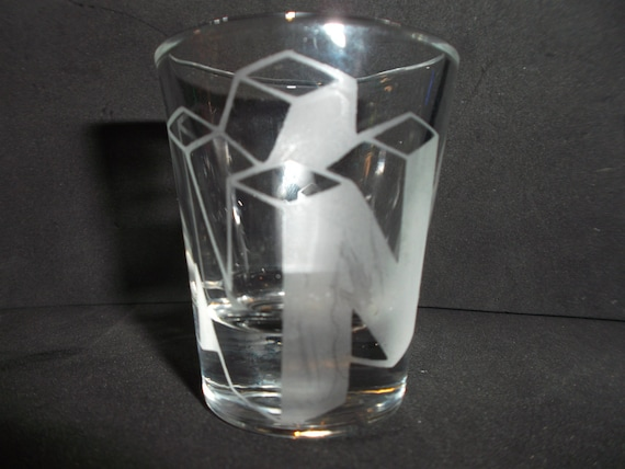 Nintendo 64 logo etched shot glass fan art