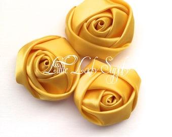 "Set of 3 Golden Yellow Satin Rosettes 1.5"", wholesale, pink, wedding, decor, headband, embellishments"