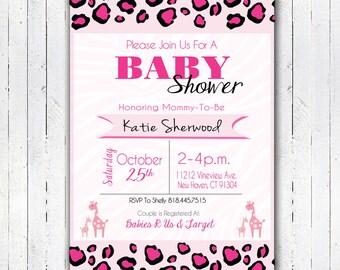 "Printable Pink Safari Baby Shower Invitation 4"" x 6"" PRINT AT HOME."